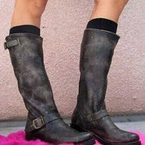 FRYE buckle Veronica Slouch Engineer black boots